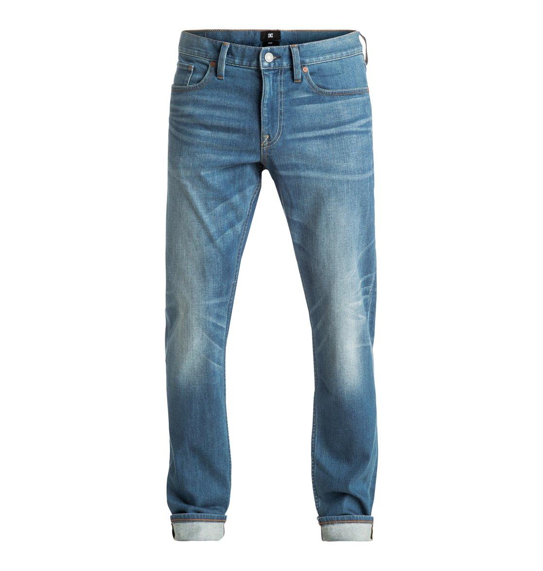 men 39 s washed medium indigo bleach slim fit jeans edydp03283 dc shoes. Black Bedroom Furniture Sets. Home Design Ideas