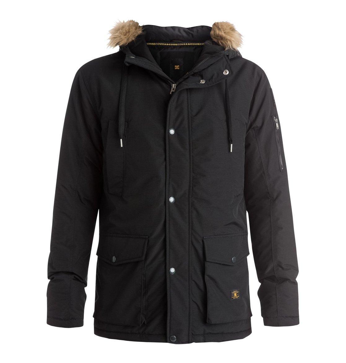 EnderbyМужская куртка Enderby от DC Shoes. <br>ХАРАКТЕРИСТИКИ: сочетание нейлона и хлопка, съемная оторочка капюшона из искусственного меха, манжеты в рубчик с изнанки рукава, карманы с подкладкой из трикотажа с начесом, плотный стеганый наполнитель, внутренний карман, нижние карманы с системой двойного доступа, пластивковые молния и кнопки с маркировкой DC спереди, нашивка из войлока и карман для мелочей на левом рукаве, ярлык DC спереди, декоративная отделка воротника с изнанки. <br>СОСТАВ: 61% хлопок, 39% нейлон.<br>