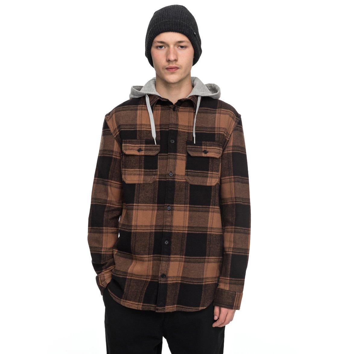 Men 39 s runnel flannel long sleeve hooded shirt edywt03162 for Mens long sleeve flannel shirts
