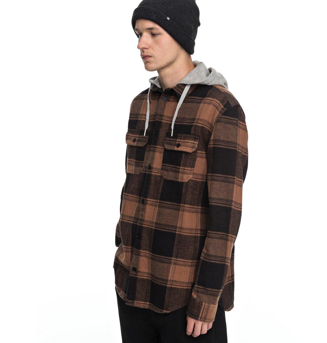 Men's Runnel Flannel Long Sleeve Hooded Shirt EDYWT03162 | DC Shoes