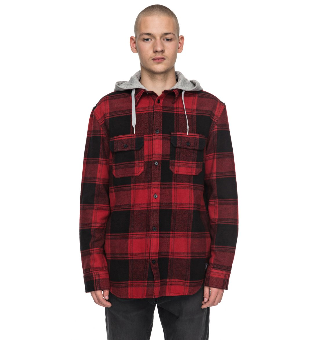 Runnel flannel long sleeve hooded shirt 3613372890390 for Mens warm flannel shirts