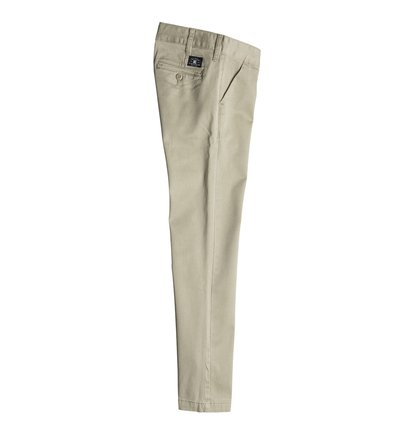 Worker Slim Fit ChinoДетские брюки Worker Slim Fit Chino от DC Shoes. <br>ХАРАКТЕРИСТИКИ: легкая эластичная саржа, узкий крой, скошенные передние карманы, ширинка на молнии, ярлык с логотипом DC над задним карманом, маленький карман для мелочи спереди, декоративная отделка изнанки пояса. <br>СОСТАВ: 98% хлопок, 2% эластан.<br>