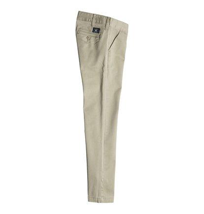 Worker Slim Fit ChinosБрюки-чино для мальчиков Worker Slim Fit от DC Shoes. <br>ХАРАКТЕРИСТИКИ: легкая эластичная саржа, узкий крой, скошенные передние карманы, ширинка на молнии. <br>СОСТАВ: 98% хлопок, 2% эластан.<br>