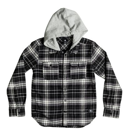 0 Runnels Flannel - Hooded Long Sleeve Shirt Black EDBWT03018 DC Shoes
