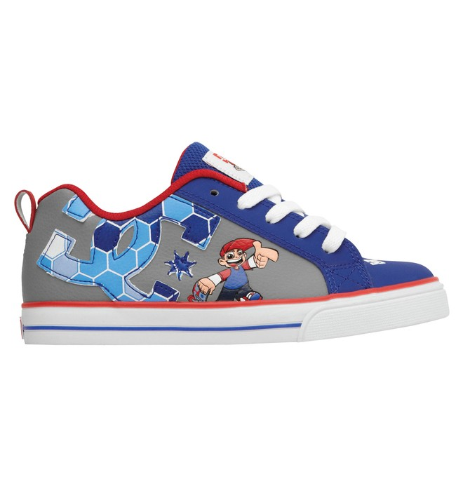 0 Kid's Wild Grinders Court Graffik Vulc Shoes Red 320407A DC Shoes