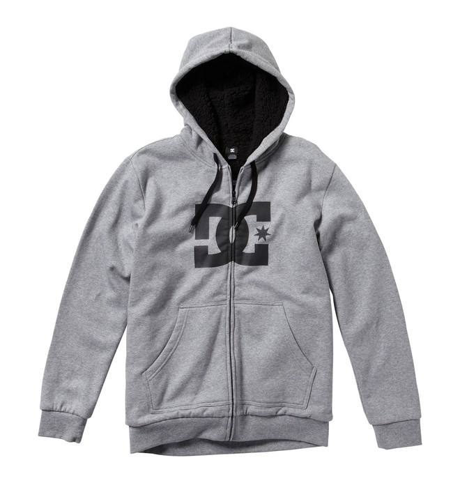 0 Men's Star Shearling Zip Hoodie Grey 55860090 DC Shoes