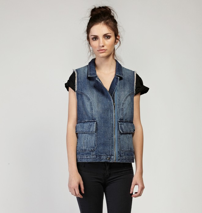 0 Women's Westmore Jean Vest Jacket  63440061 DC Shoes