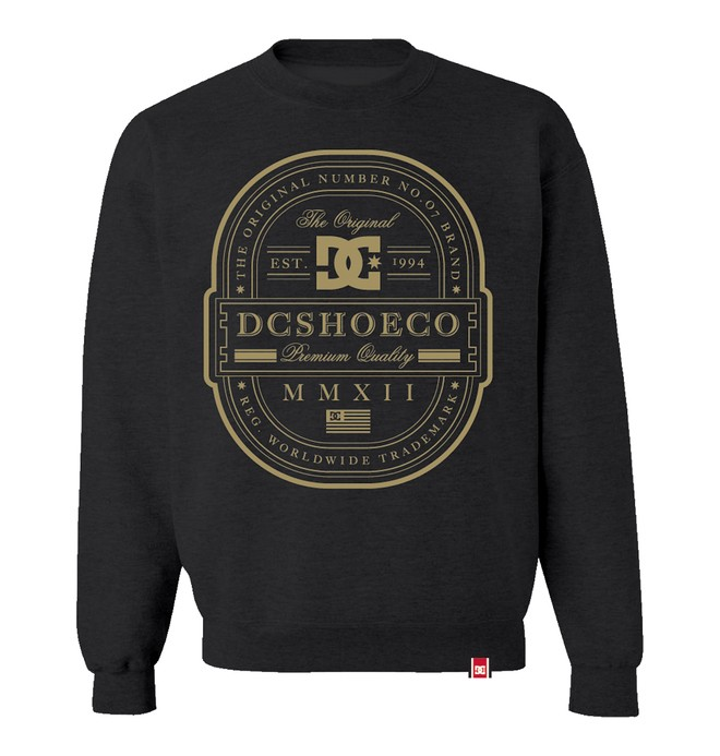 0 Men's Rob Dyrdek Lux Label Crew Sweatshirt Black ADYFT00053 DC Shoes