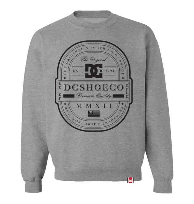 0 Men's Rob Dyrdek Lux Label Crew Sweatshirt Grey ADYFT00053 DC Shoes