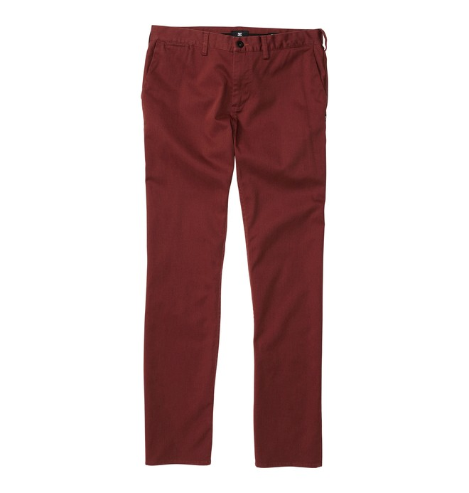 0 Men's DC Worker Straight Fit Pant Red ADYNP00001 DC Shoes