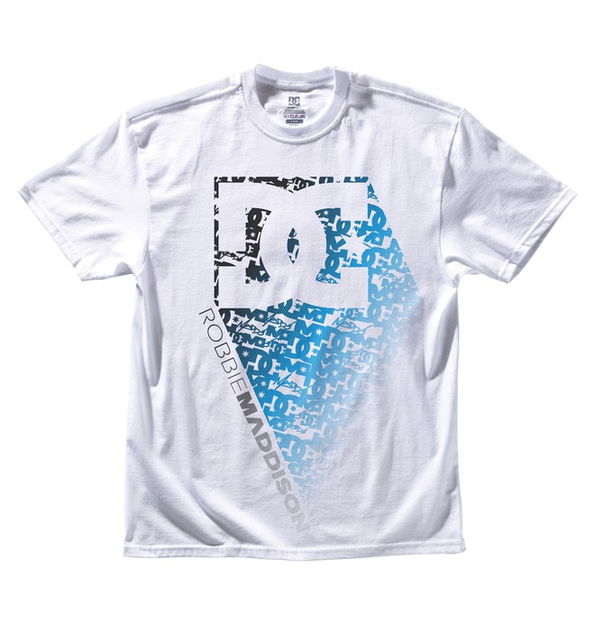 0 Men's Robbie Maddison Matrix Blue Tee White ADYZT00634 DC Shoes