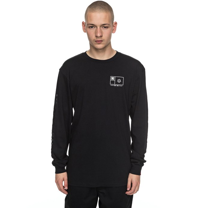 0 Men's Flag Lines Long Sleeve Tee Black ADYZT04111 DC Shoes