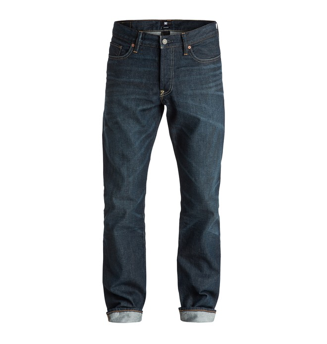 "0 Men's Washed Straight Fit Cast Worn 34"" Jeans  EDYDP03172 DC Shoes"