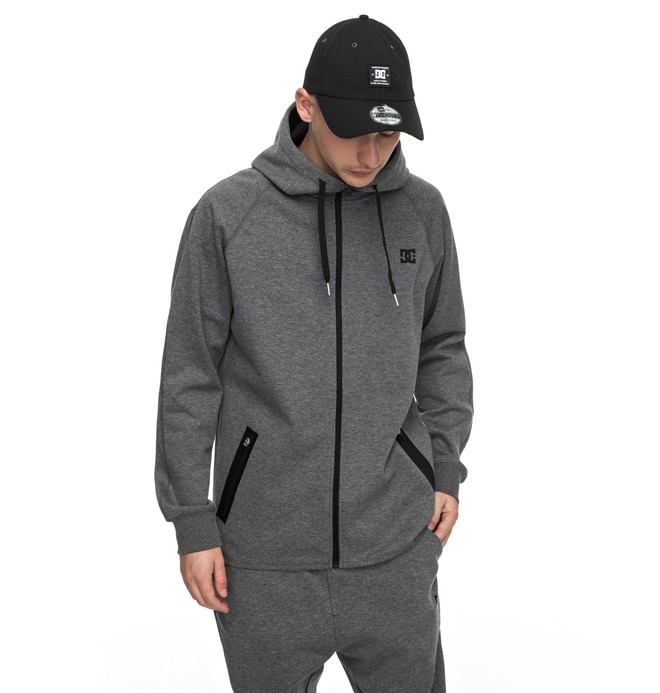 0 Men's Woodmoor Technical Zipper Up Hoodie Black EDYFT03303 DC Shoes