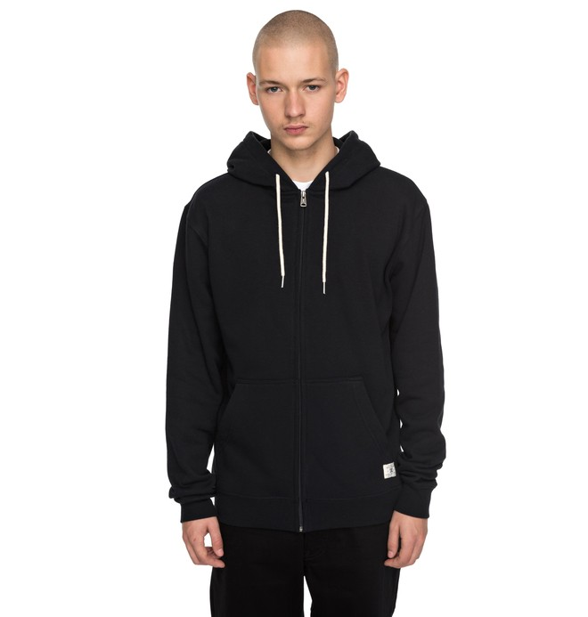 0 Men's Rebel Zipper Up Hoodie Black EDYFT03332 DC Shoes