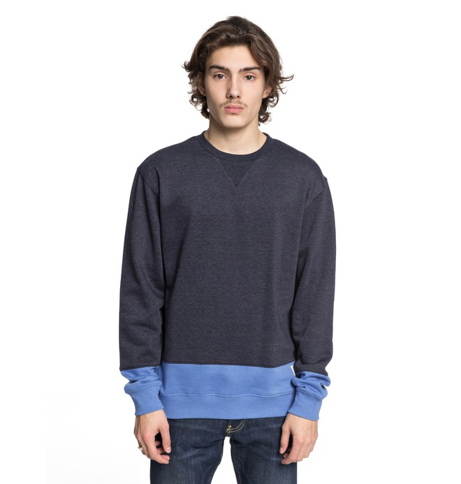 0 Men's Rebel Block Sweatshirt Blue EDYFT03345 DC Shoes