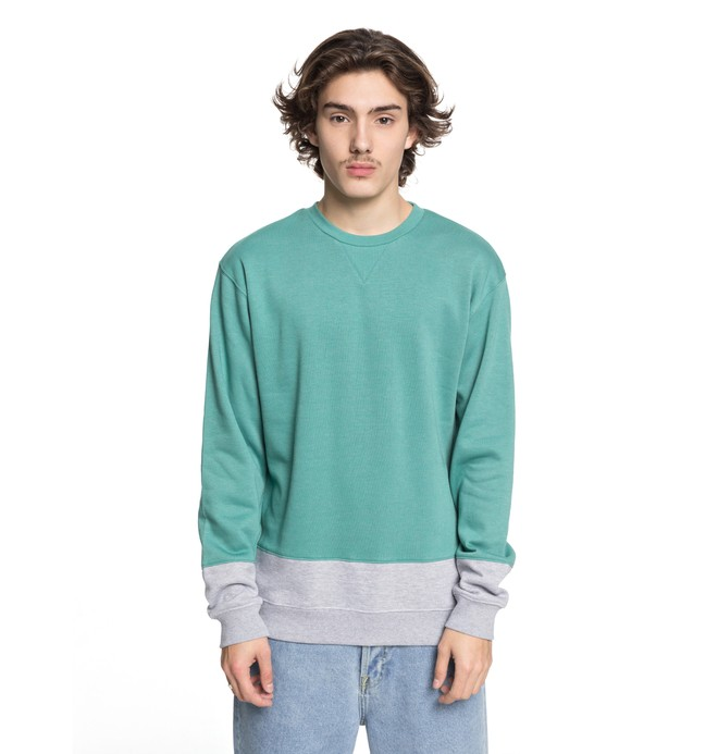 0 Men's Rebel Block Sweatshirt Green EDYFT03345 DC Shoes
