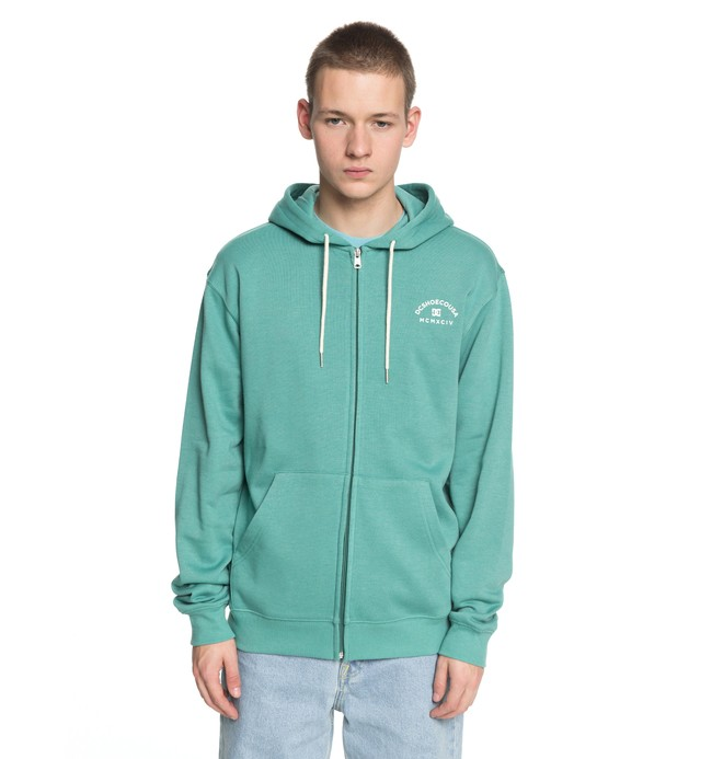 0 Men's Rebel Zip Up Hoodie Green EDYFT03369 DC Shoes