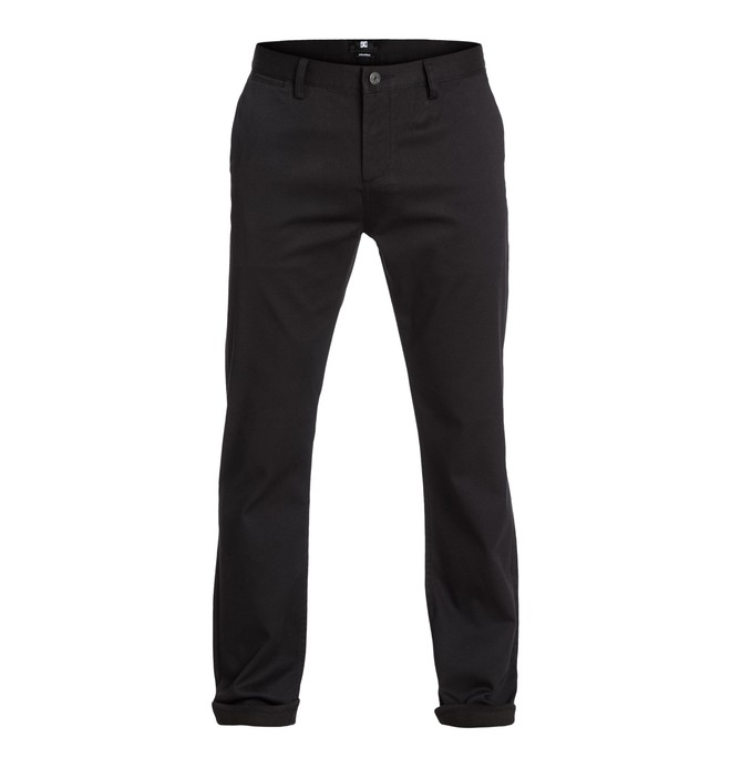 "0 DC Worker Straight 32"" Inseam Pants Black EDYNP03006 DC Shoes"