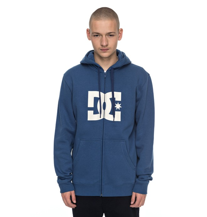 0 Men's Star Zip Up Hoodie Blue EDYSF03108 DC Shoes