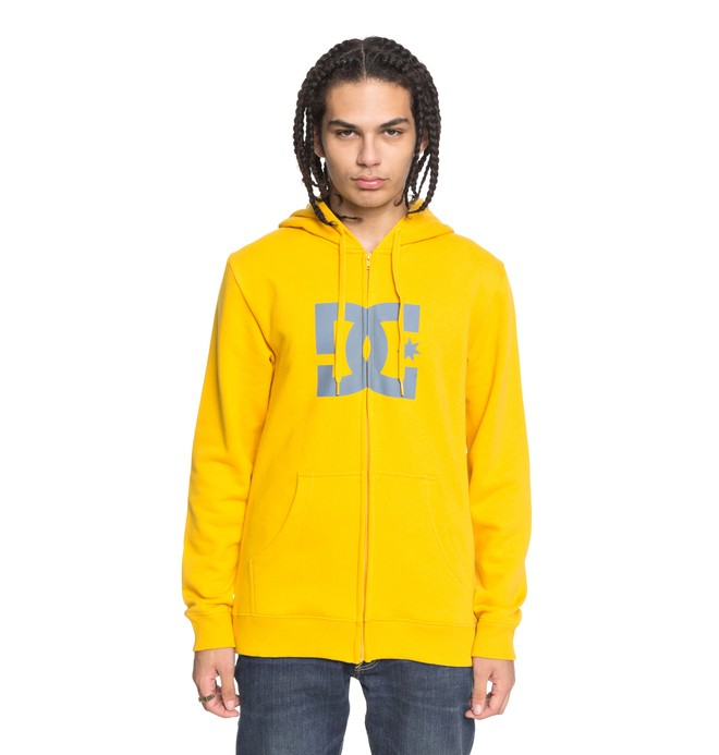 0 Men's Star Zip Up Hoodie Yellow EDYSF03108 DC Shoes