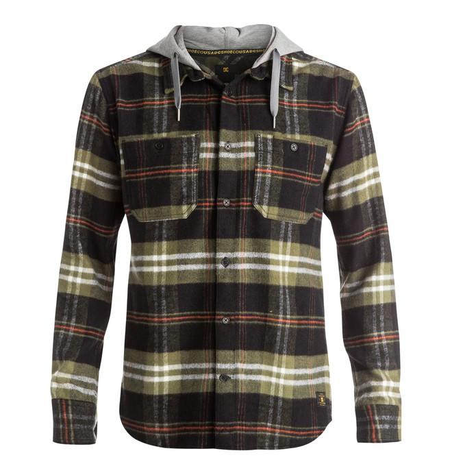 0 Men's Hood Up Flannel Shirt Black EDYWT03042 DC Shoes
