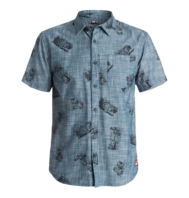 0 Men's Cliver Woven Short Sleeve Chambray Shirt  EDYWT03054 DC Shoes