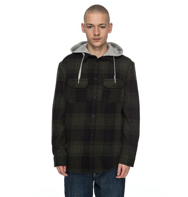 0 Men's Runnel Flannel Long Sleeve Hooded Shirt Brown EDYWT03162 DC Shoes