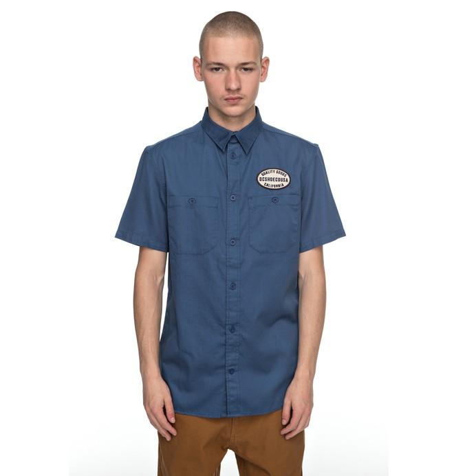 0 Men's Derwent Short Sleeve Shirt Blue EDYWT03166 DC Shoes