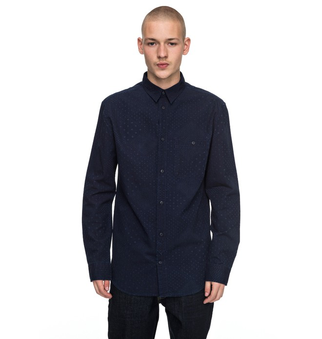 0 Swalendalen - Textured Long Sleeve Shirt Blue EDYWT03167 DC Shoes