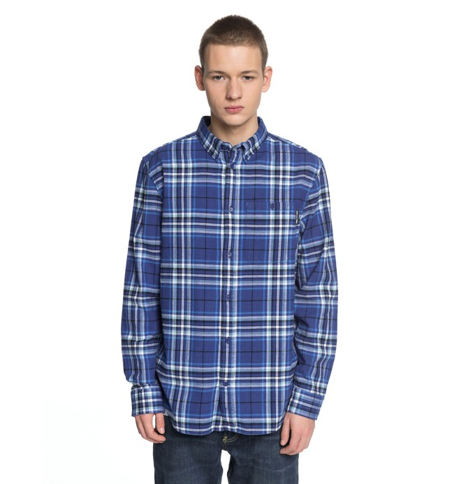 0 Men's South Ferry Long Sleeve Shirt Blue EDYWT03187 DC Shoes