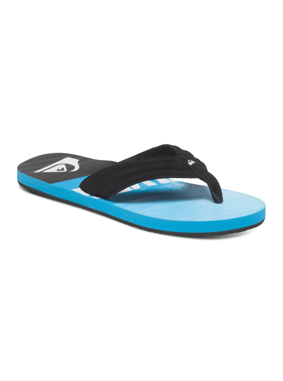 quicksilver flip flops mens black with white logo / graphics size 11 /44