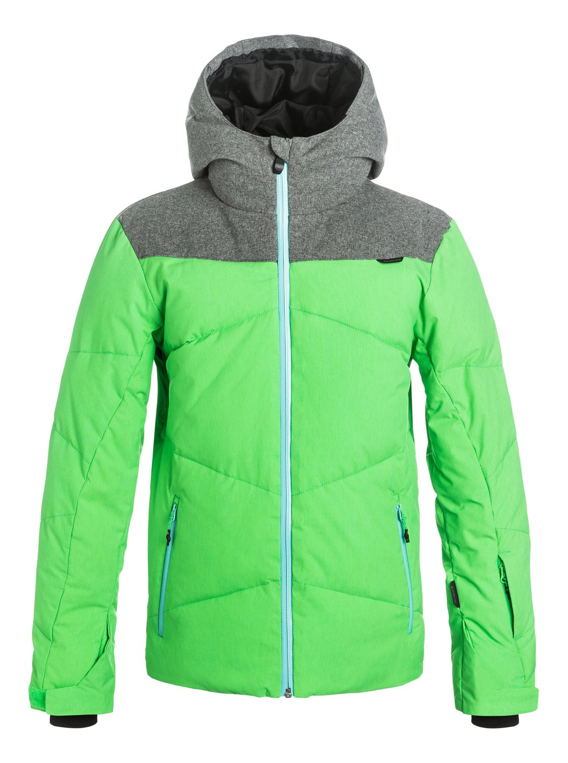 Сноубордический пуховик UltimateHarness the power of the puffer with the Ultimate ski jacket for boys. Freezing temperatures dont stand a chance against the whopping 200 grams of Warmflight® quilting. Quiksilver DryFlight® technology 15K waterproofing, YKK® Aquaguard® zips and critically-sealed seams create a barrier against external moisture while the breathable shell and taffeta lining let body moisture escape for the perfect microclimate, whatever comes your way.<br>
