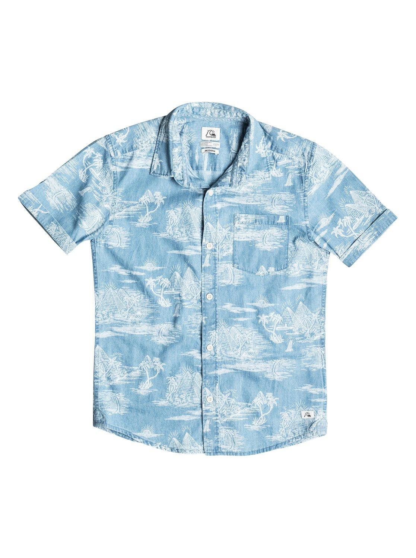 Детская рубашка с коротким рукавом Pyramid PointРубашка с коротким рукавом Pyramid Point для мальчиков от Quiksilver.ХАРАКТЕРИСТИКИ: хлопок-шамбре, крой Modern, вытравной принт, нагрудный карман.СОСТАВ: 100% хлопок.<br>