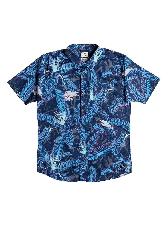 Детская рубашка с коротким рукавом Riot ShirtРубашка с коротким рукавом Riot Shirt для мальчиков от Quiksilver.ХАРАКТЕРИСТИКИ: короткие рукава, натуральный поплин, крой Modern, сплошной принт.СОСТАВ: 100% хлопок.<br>