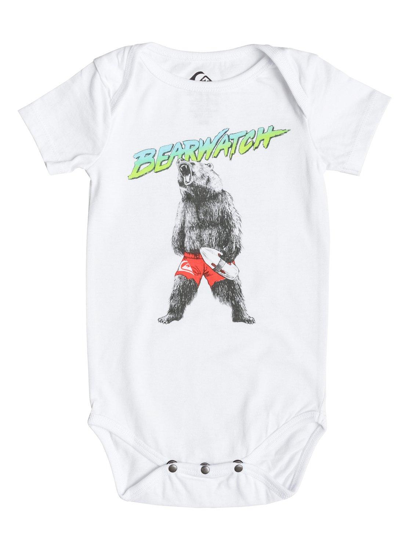 Babys Body Bearwatch T-ShirtДетская футболка Body Bearwatch от Quiksilver. <br>ХАРАКТЕРИСТИКИ: мягкий натуральный трикотаж, принт спереди, принт с изнанки воротника сзади, кнопки у подола. <br>СОСТАВ: 100% хлопок.<br>