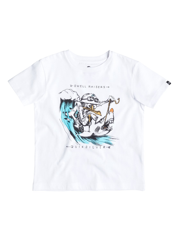 Детская футболка Classic Seagull RaiseДетская футболка Classic Seagull Raise от Quiksilver.ХАРАКТЕРИСТИКИ: округлый вырез, мягкий натуральный трикотаж, принт спереди, принт с изнанки воротника сзади.СОСТАВ: 100% хлопок.<br>