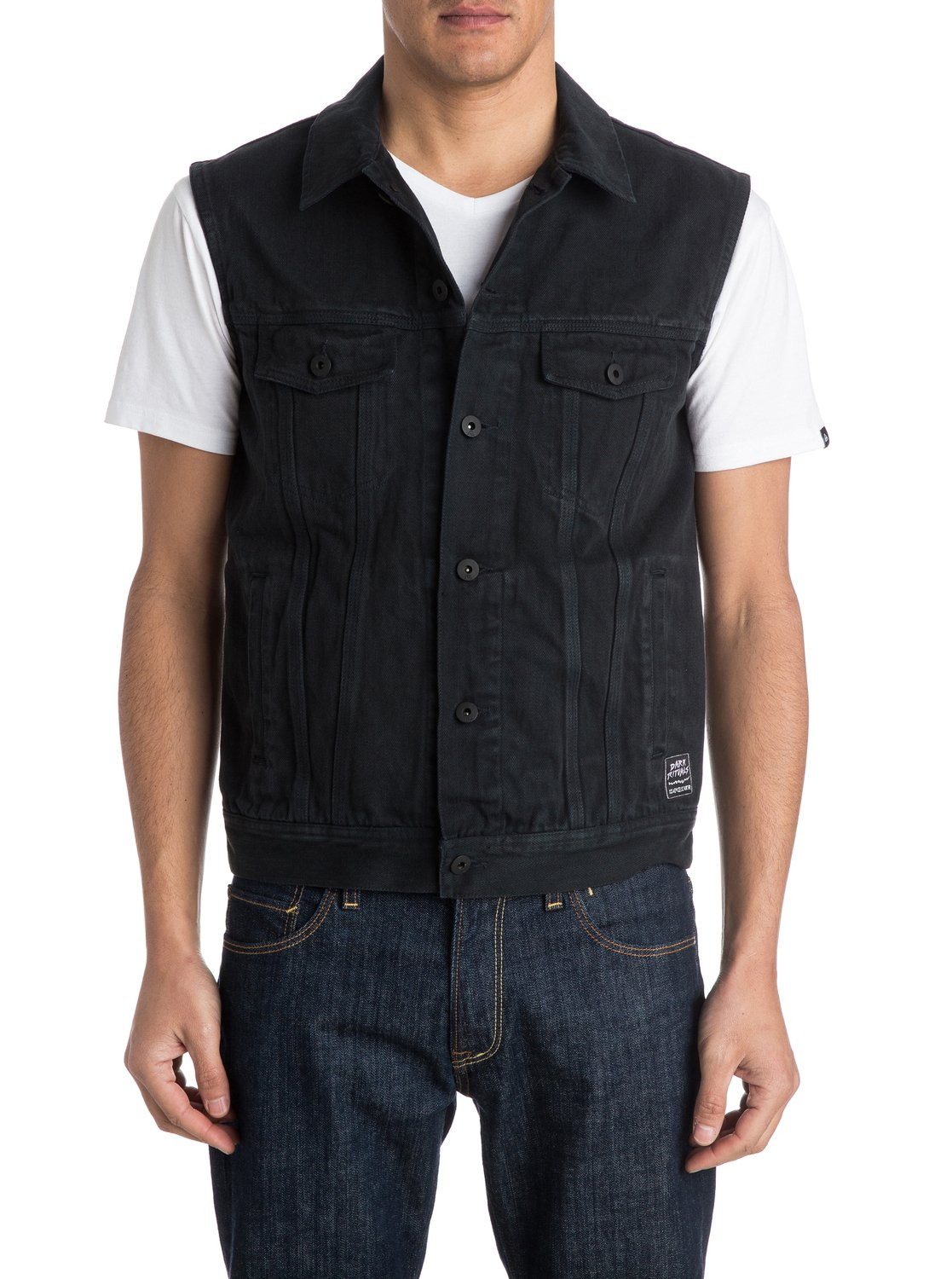 hooligans and whisky sleeveless short denim jacket eqyjk03135 quiksilver. Black Bedroom Furniture Sets. Home Design Ideas