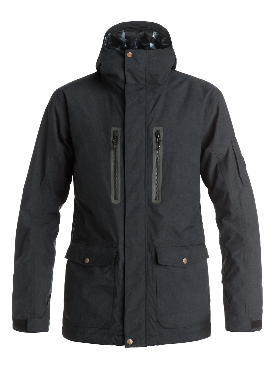 Сноубордическая куртка Dark And StormyWith a versatile modern look influenced by urban styles, the Dark And Stormy snow jackets longer, straighter cut has been tailored with 15K Quiksilver DryFlight® technology for durable waterproofing in wet and snowy conditions. Featuring 3M® Thinsulates® Type M insulation for powerful bulk-free warmth, the fully-sealed seams offer all-over protection and mesh lined underarm vents let you refresh when your temperature rises.<br>