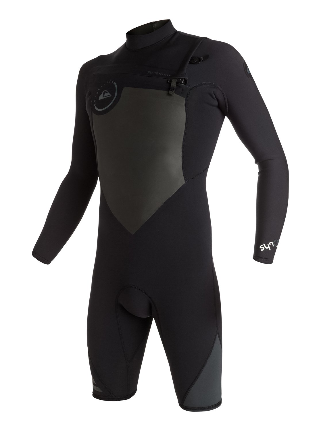 Syncro 2/2mm - Chest Zip Long Sleeve SpringsuitThe long sleeve Syncro 2/2mm wetsuit packs F'N lite neoprene for lightness, Vapor Stretch Mesh for warmth and protection from wind and water, and GBS seams for increased flexibility, waterproofing and durability. Colour blocking on arms and shoulders means this 2mm springsuit looks as good as it surfs.<br>