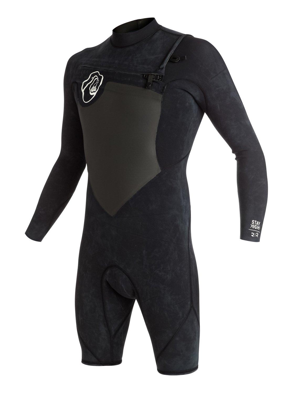 Quiksilver Короткий мужской гидрокостюм с длинным рукавом и нагрудной молнией High Dye 2/2mm