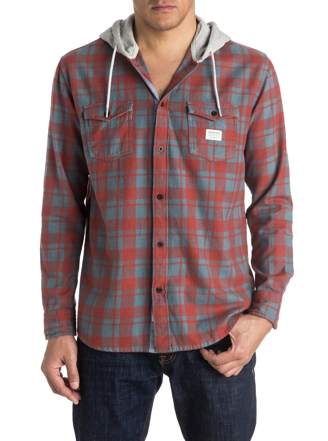 Snap Up Flannel Long Sleeve Hooded Shirt Eqywt03376