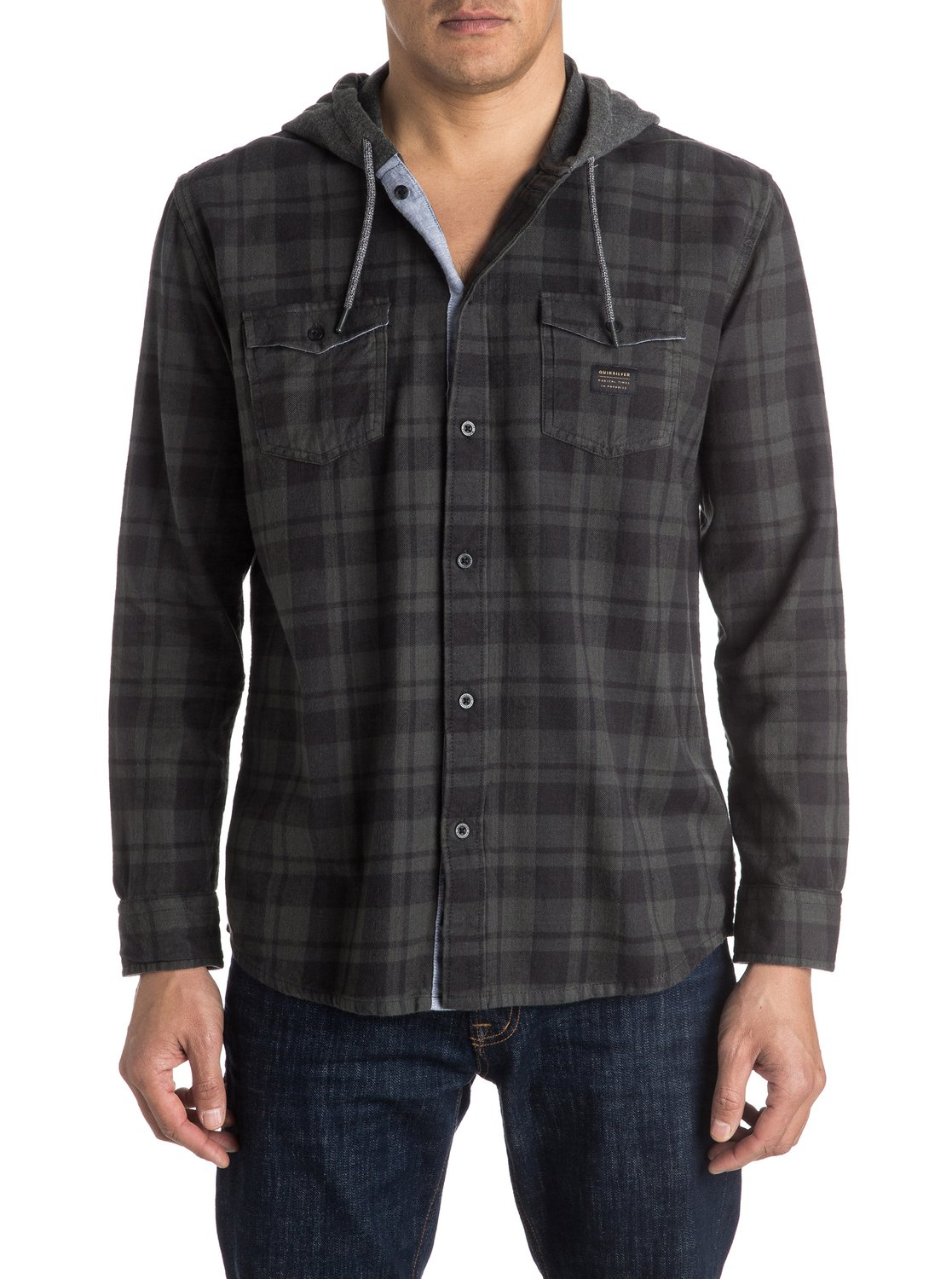 2adacb55 0 Snap Up Flannel - Long Sleeve Hooded Shirt Black EQYWT03376 Quiksilver