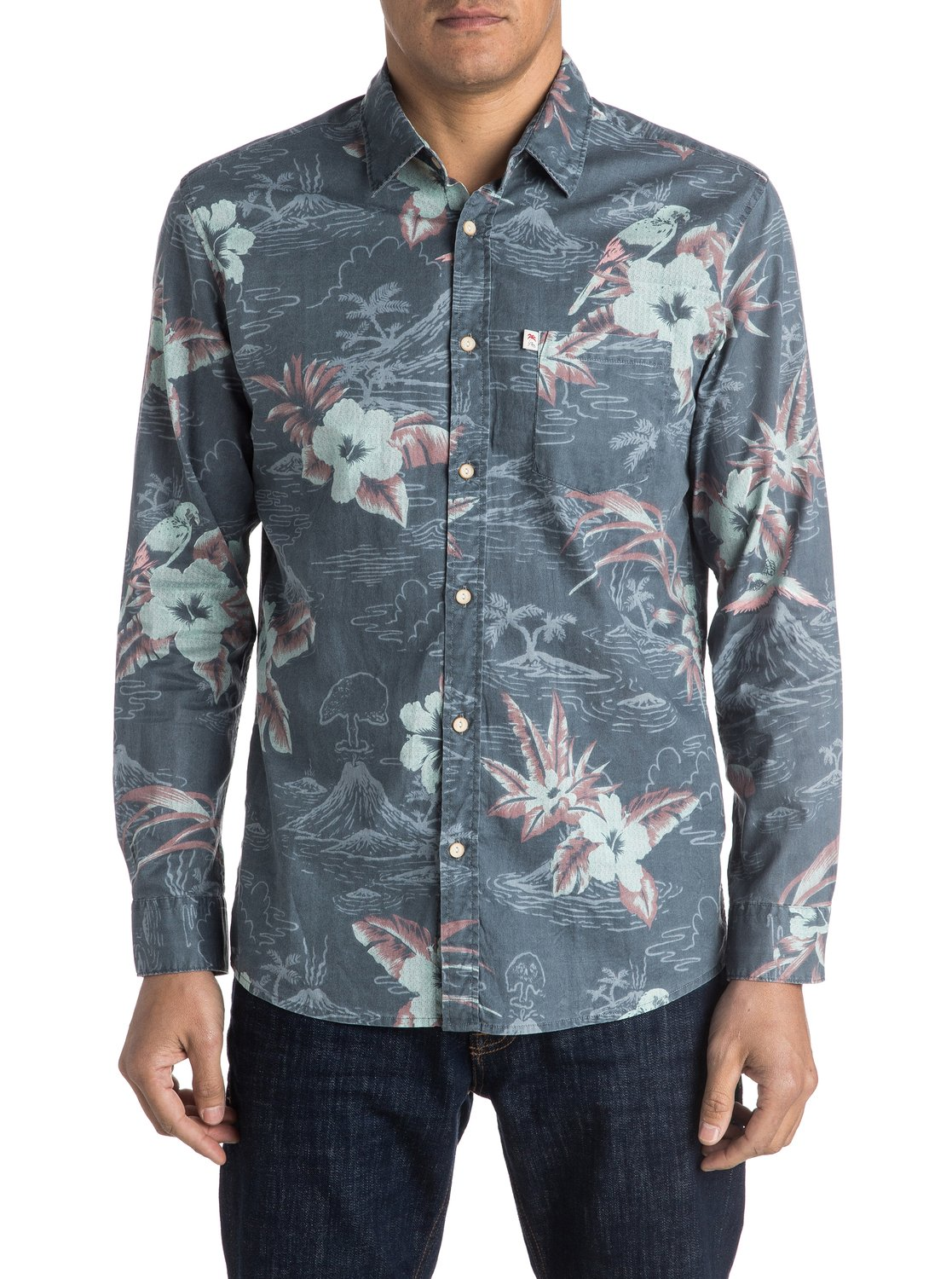Quiksilver-Parrot-Jungle-Long-Sleeve-Shirt-Camisa-De-Manga-Larga-Hombre