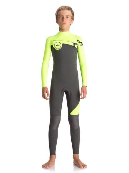 3/2mm Syncro series - combinaison gbs zip poitrine pour garçon 8-16 ans - noir - quiksilver