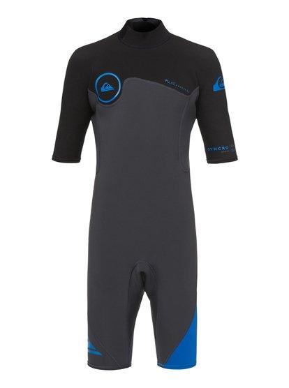 2/2mm Syncro series - springsuit à manches courtes avec zip dans le dos pour garçon 8-16 ans - bleu - quiksilver