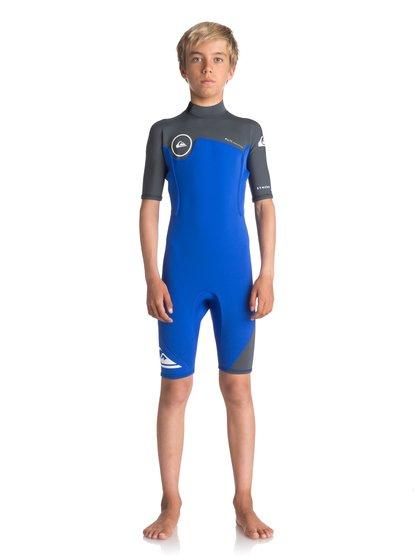 2/2mm Syncro series - springsuit à manches courtes avec zip dans le dos pour garçon 8-16 ans - violet - quiksilver