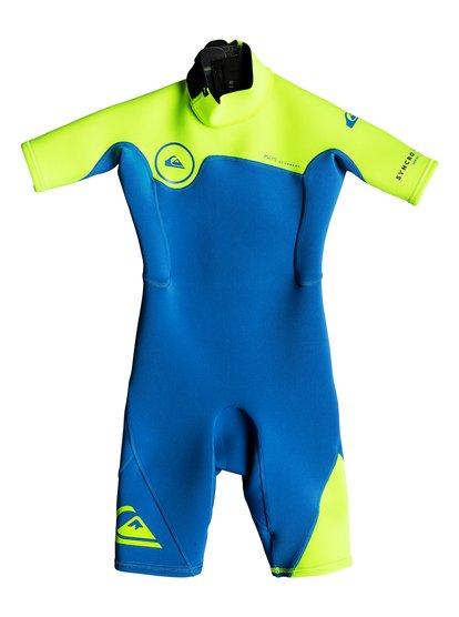 2/2mm Syncro series - springsuit à manches courtes avec zip dans le dos pour garçon 2-7 ans - bleu - quiksilver