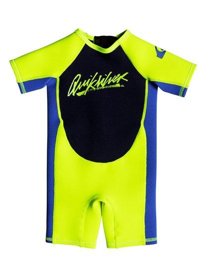 1.5mm Syncro - springsuit manches courtes back zip pour bébés - jaune - quiksilver