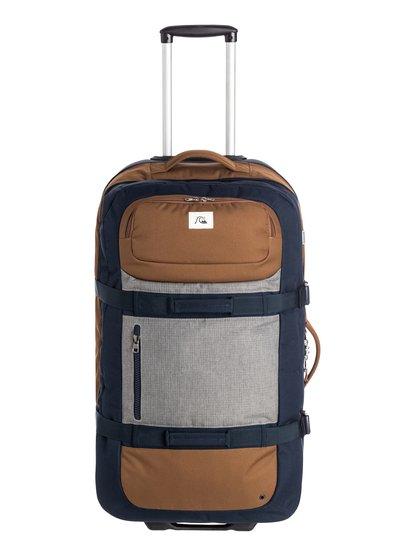 Mens Reach Modern Original Wheeled SuitcaseМужской чемодан Reach Modern Original Wheelie.ХАРАКТЕРИСТИКИ: полиэстер 600D, два основных отделения одно над другим, удобная набивная рукоятка, скейтовые колеса, ярлык Quiksilver, телескопическая ручка, удобный карман, легкая база, размер – 80 x 41 x 28 см, объем – 100 л, вес – 3.2 кг.СОСТАВ: 100% полиэстер.<br>